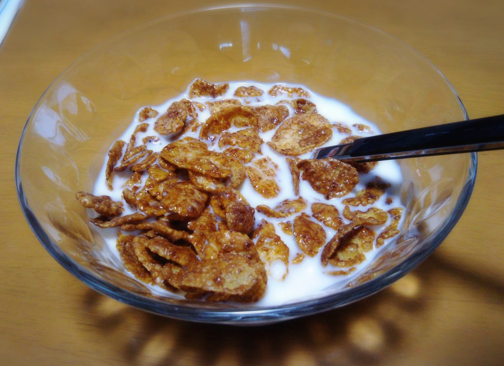 つわり中の朝食はコーンフレーク
